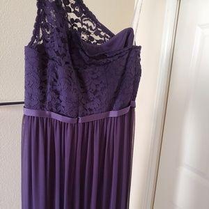 Long One Shoulder Lace Bridesmaid Dress/David's